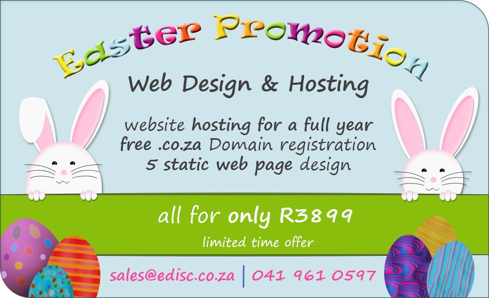 Easter Promotion - Get your website and 1 year hosting now for only R3899